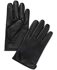 Men's Classic Leather Fleece-Lined Touchscreen Gloves
