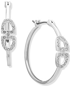 Medium Pavé Stirrup Hoop Earrings, 1.16""