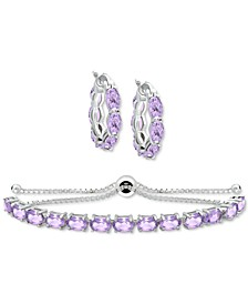 2-Pc. Set Amethyst Small Hoop Earrings and Bolo Bracelet (7-1/5 ct. t.w.) in Sterling Silver (Also in Rhodolite Garnet , Peridot, Blue Topaz & Multi-Stone)