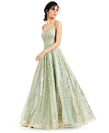 Juniors' Allover-Sequin Overlay Gown, Created for Macy's