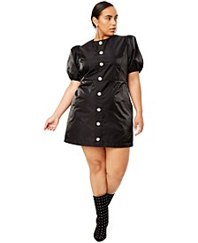 Trendy Plus Size Rhinestone-Button Mini Dress, Created for Macy's