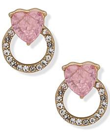Gold-Tone Crystal Heart & Pavé Circle Doorknocker Drop Earrings