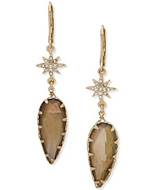 Gold-Tone Pavé Star & Stone Drop Earrings