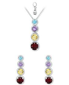 2-Pc. Set Amethyst Graduated Pendant Necklace & Matching Stud Earrings Set (4-7/8 ct. t.w.) in Sterling Silver (Also in Rhodolite Garnet, Blue Topaz, Peridot & Multi-Stone)