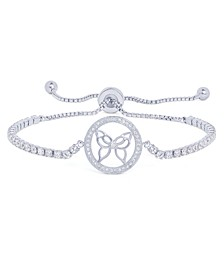 Cubic Zirconia Butterfly Round Adjustable Bolo Bracelet in Fine Silver Plated
