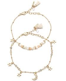 Gold-Tone 2-Pc. Set Pavé Celestial Charm & Beaded Ankle Bracelets