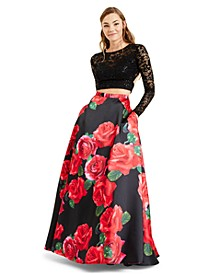 Juniors' 2-Pc. Lace & Floral-Print Gown, Created for Macy's