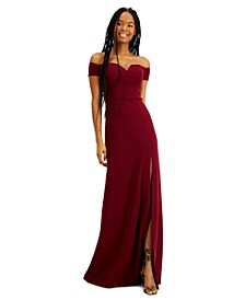 Juniors' Off-The-Shoulder Gown