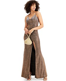 Juniors' Glitter-Knit Side-Cinch Gown