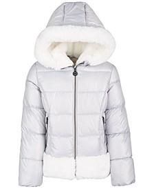 Little Girls Faux-Fur-Trim Puffer Coat