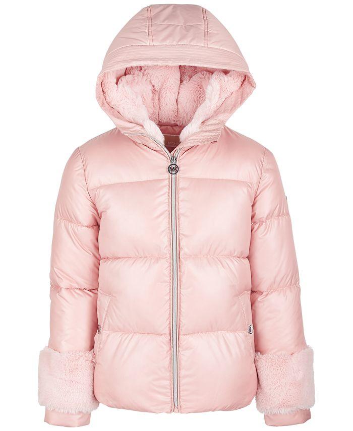 Michael Kors - Little Girls Faux-Fur-Trim Puffer Coat