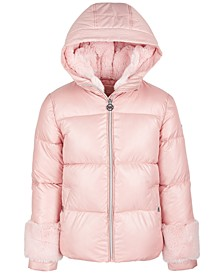 Big Girls Faux-Fur-Trim Puffer Coat