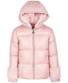Michael Kors Big Girls Faux-Fur-Trim Puffer Coat