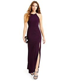 Juniors' Halter High Slit Gown