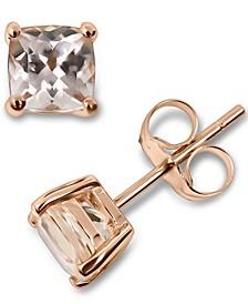 Morganite Cushion Stud Earrings (1 ct. t.w.) in 14k Rose Gold