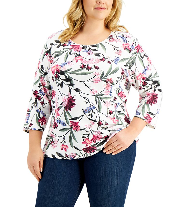 Karen Scott - Plus Size Printed 3/4-Sleeve Top