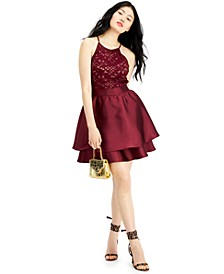 Juniors' Halter Glitter Lace Dress