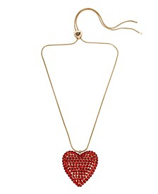 Pave Heart Pendant Slider Necklace
