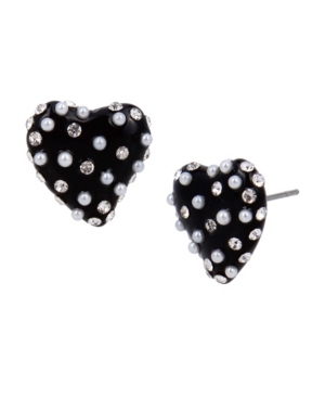 Imitation Pearl Heart Stud Earrings