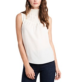 Smocked-Neck Top