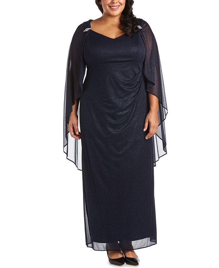 R & M Richards - Plus Size Empire-Waist Cape Gown