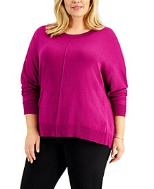 Plus Size High-Low Dolman-Sleeve Sweater, Created for Macy's