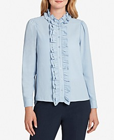 Solid Ruffled Button-Down Blouse