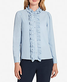 Tahari ASL Solid Ruffled Button-Down Blouse