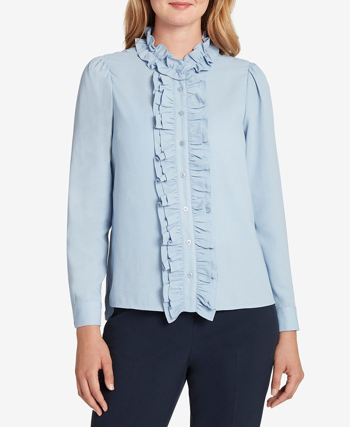 Tahari ASL - Solid Ruffled Button-Down Blouse