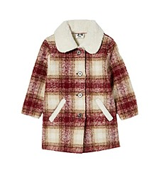 Little Girls Arlo Check Teddy Jacket