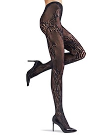 Women's Feather Lace Net Tights Hosiery