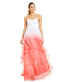 Juniors' Strapless Ombré Ball Gown