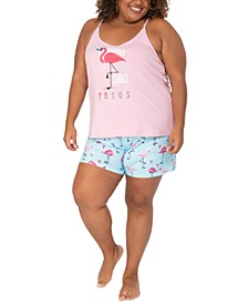 Plus Size Flamingo Tank & Shorts Sleep Set