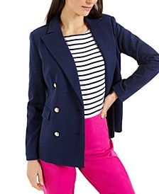 Petite Knit Double-Breasted Blazer, Created for Macy's