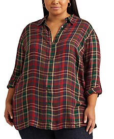 Plus-Size Plaid Roll-Tab-Sleeve Twill Shirt