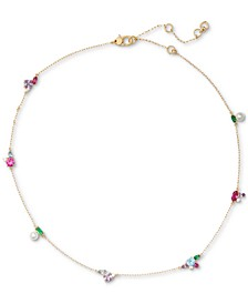 "Gold-Tone Colorful Crystal Collar Necklace, 16"" + 3"" extender"