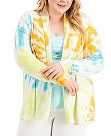 Plus Size Tie-Dye Open-Front Cardigan, Created for Macy's