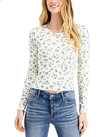 Juniors' Floral-Printed Lettuce-Edge Top