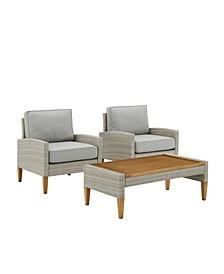 Capella Outdoor Wicker 3 Piece Chair Set