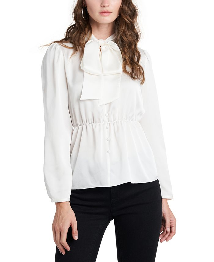 1.STATE - Puff-Sleeve Tie-Neck Top