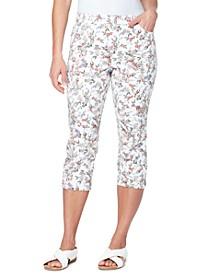 Petite Amanda Floral-Print Capri Jeans