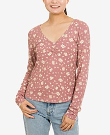 Juniors' Ruched-Front Rib-Knit Top