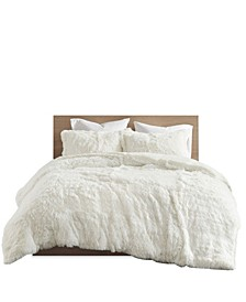 Malea 3 Pieces King Shaggy Faux Fur Duvet Cover Set