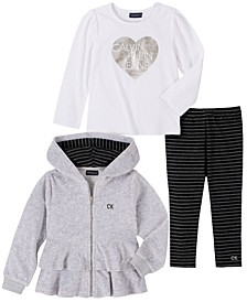 Toddler Girls Velour Ruffle Jacket with Long Sleeve Top and Stripe Legging, 3 Piece Set