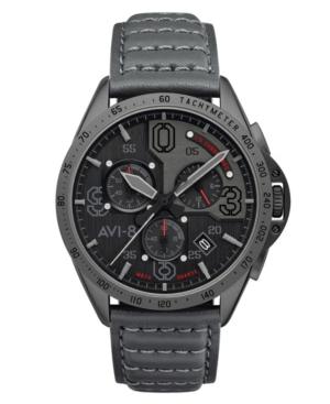 Men's P-51 Mustang Blakeslee Chronograph Brevet Gray Genuine Leather Strap Watch