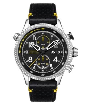 Men's Hawker Hunter Duke Chronograph Halton Black Genuine Leather Strap Watch