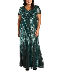 Plus Size Sequinned Beaded Long Dress