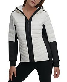 Sport Hooded Colorblocked Down Jacket