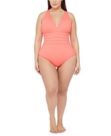 Plus Size Cross-Back Tummy-Control One-Piece Swimsuit