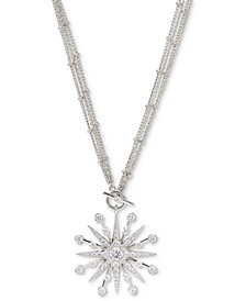 "Silver-Plated Cubic Zirconia Star 16"" Pendant Necklace, Created for Macy's"